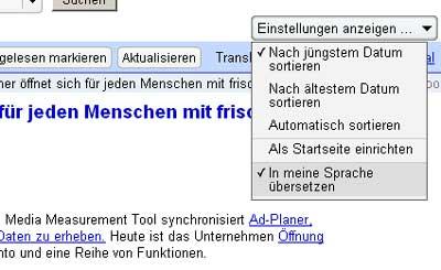 Google Reader Übersetzung