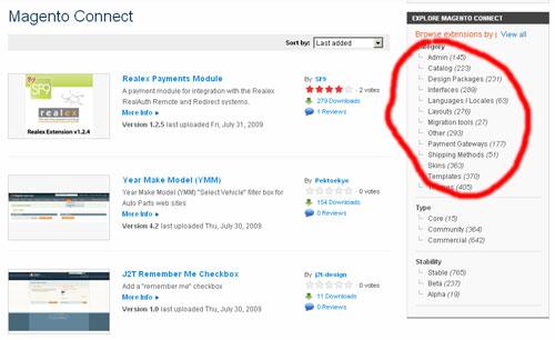 Über 1000 Plugins bei Magento Connect