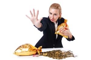 Frau mit Geldsack