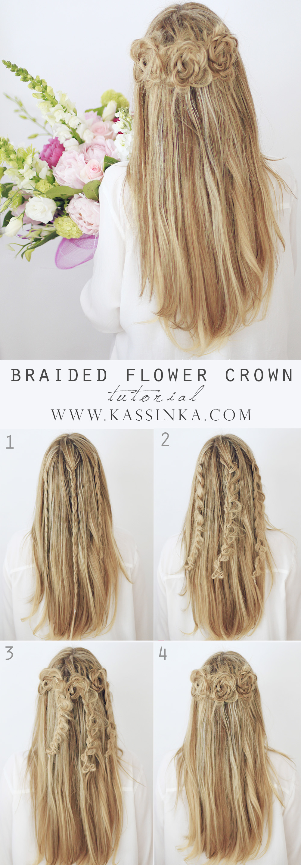 Braided Flower Crown Hair Tutorial Kassinka