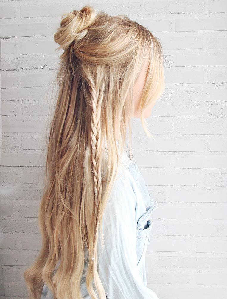 Half up Boho Braided Bun Hair Tutorial Kassinka