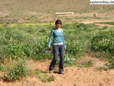 West-Sahara-Rückfahrt-Doreen genießt das üppige Grün