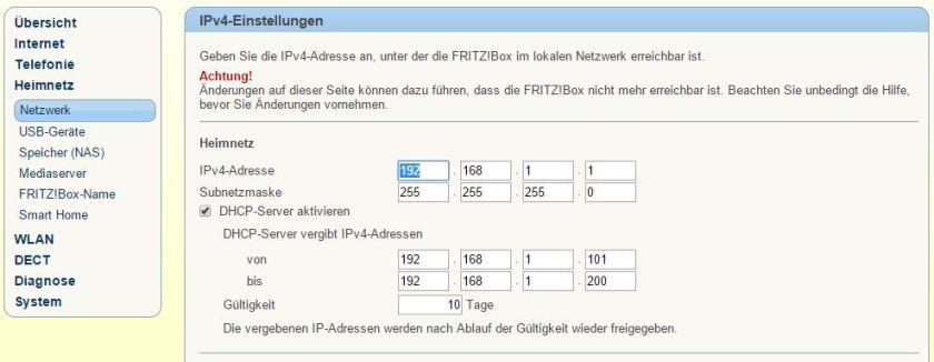 Fritzbox - Netzwerkbereich
