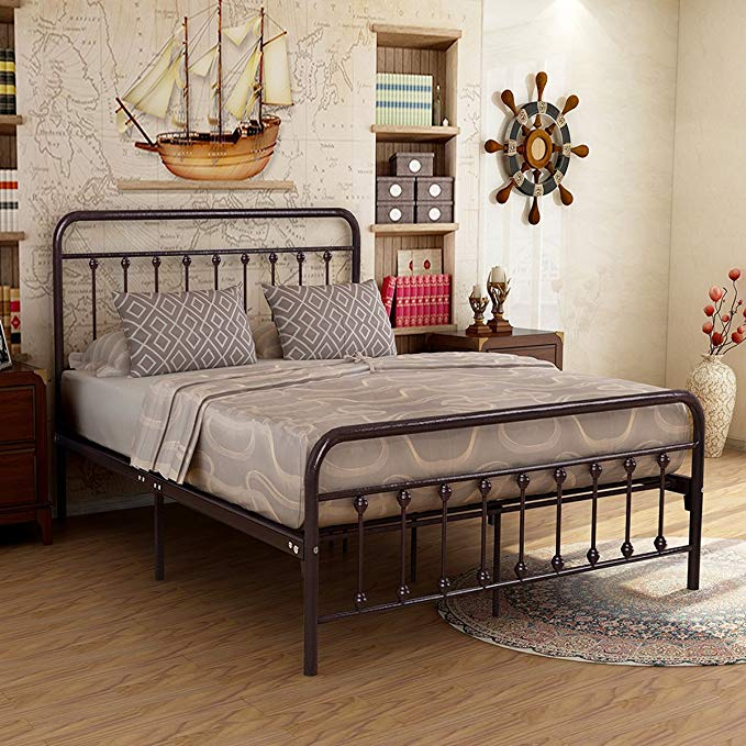 Metal Bed Frame Iron Decor Steel Queen Size Base with Headboard and Footboard Legs Platform Slats Cover Dark Copper 634 (Queen)