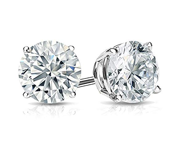 AGK Diamonds 1.05 ct Ladies Round Cut Cubic Zirconia Stud Earrings in Silver With Push Back