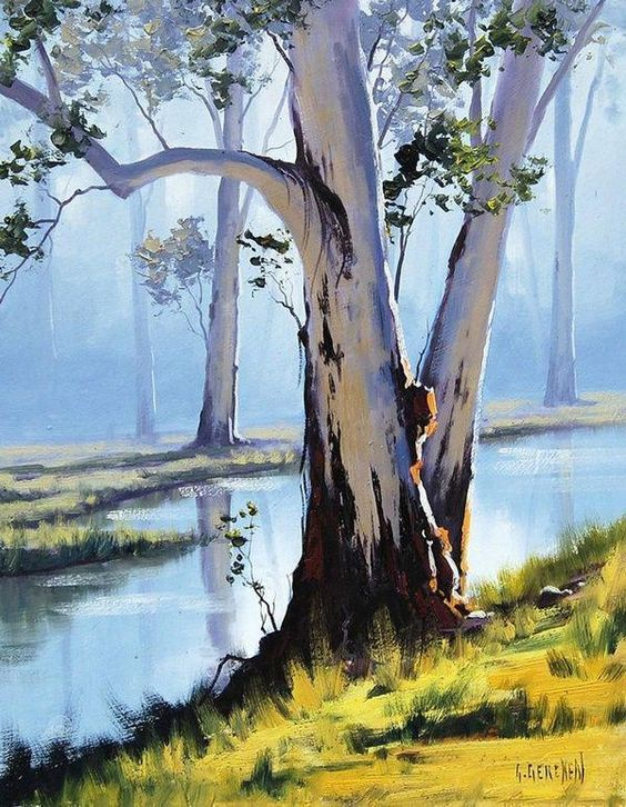 Birch On The Riverside By Graham Gercken, Oil Paintings