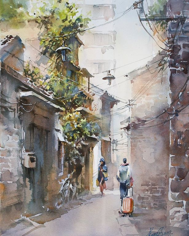 Calmness By Kwan Yeuk Pang, Watercolor Painting