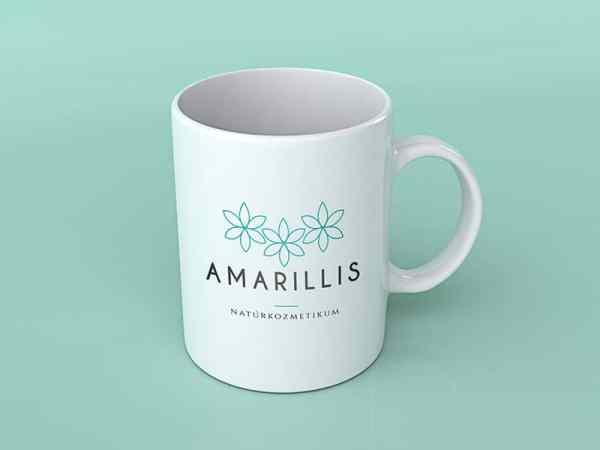 Amarillis virágos, modern, letisztult, nőies logó kisvállalkozásoknak, bögre, promóciós termék, céges ajándék