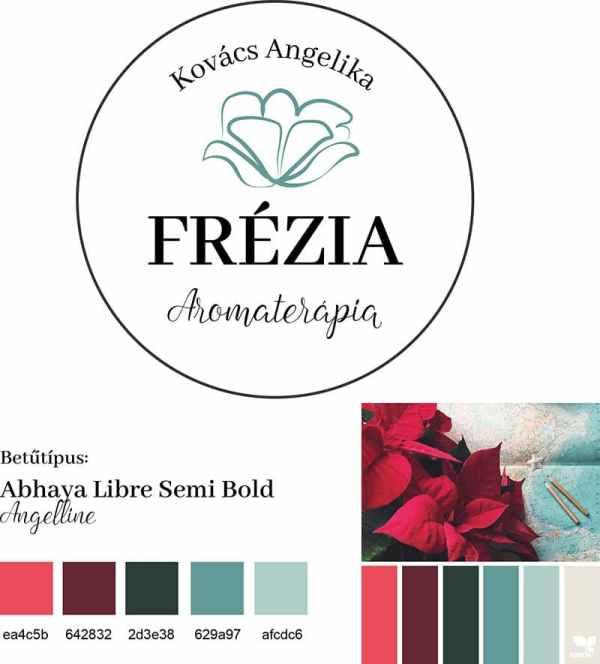 Frézia brand board, arculati tábla Frézia logóhoz, nőies, elegáns, letisztult, virágos, türkiz logó