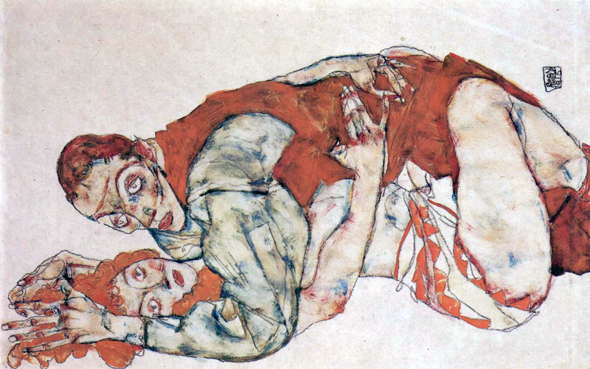 Sexual act study (Egon Schiele, 1915)