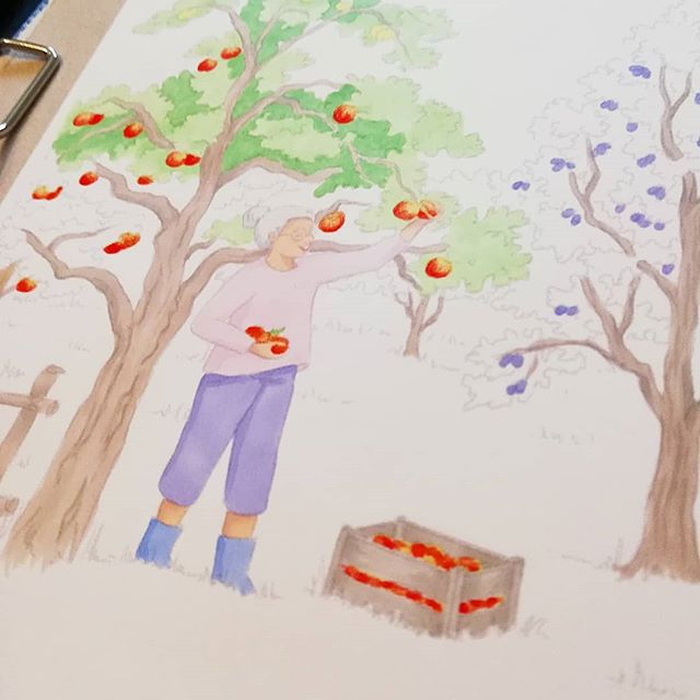 Instagram - Worek in progress#illust #kidlitart #portrait #szkicownik #midorisketchbook #illustration #drawing #copics #rodzina #family #art #artwork #babcia #childrensillustration #kidlitart #grandma #plant #sad #appletree #uczęsięmówićzfretką