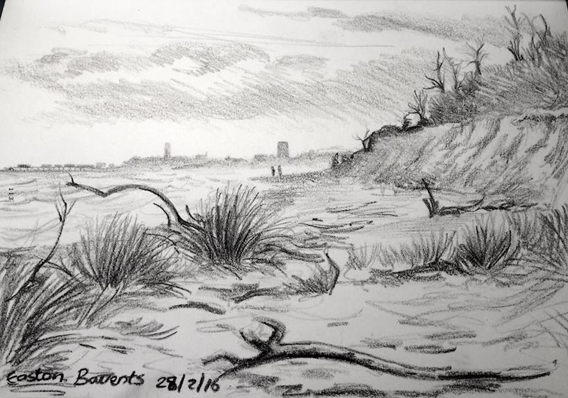 Sketching towards Southwold from Covehithe