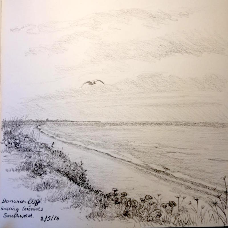 Dunwich sketch on the cliff top 123