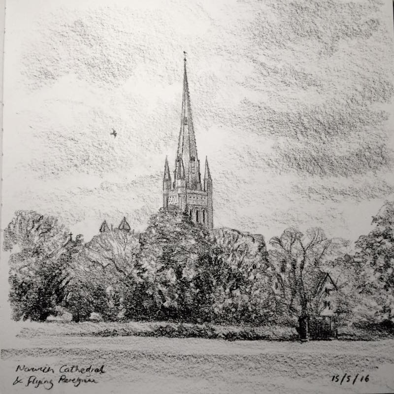 Norwich cathedral sketch 136