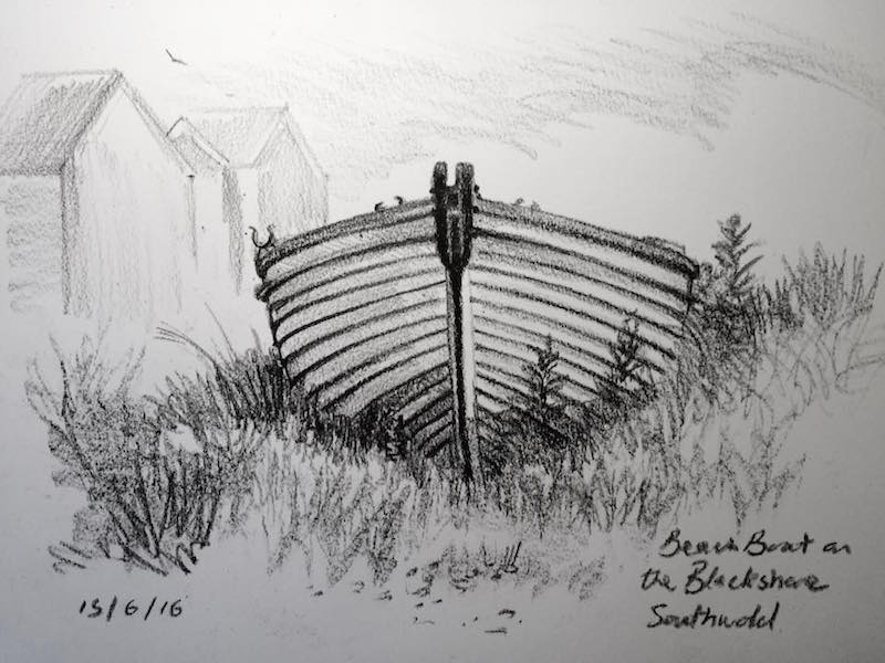 beach boat on the blackshore sketch 167