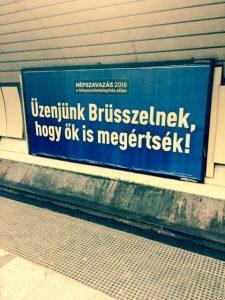 hungary nepszavazas 2016 referendum billboard budapest nyugati palyaudvar blue