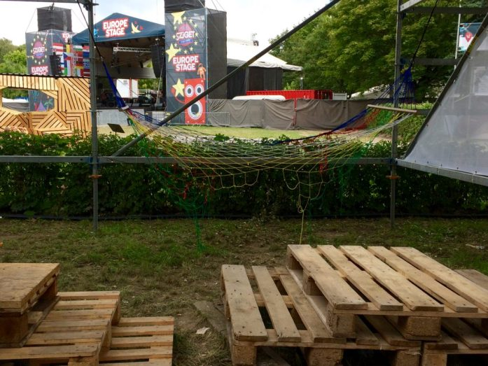 sziget festival europe stage view wooden installation