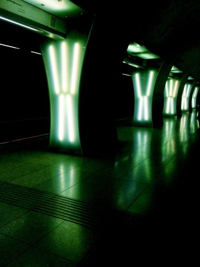rakoczi ter metro stop underground M4 Budapest public transport public sphere architecture station decoration light panels