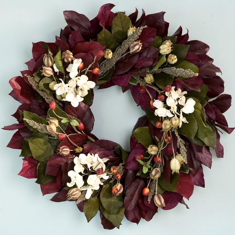 Spring Door Wreath Decoration Burgundy Rosehip And