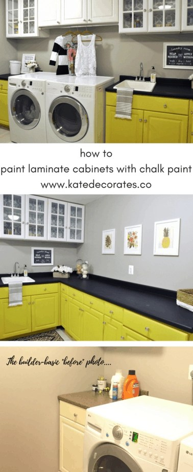 How to Paint Laminate Cabinets with Chalk Paint | Kate Decorates