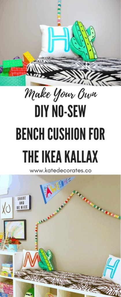I love a good IKEA hack, and this no-sew bench cushion for the Kallax shelf is awesome!