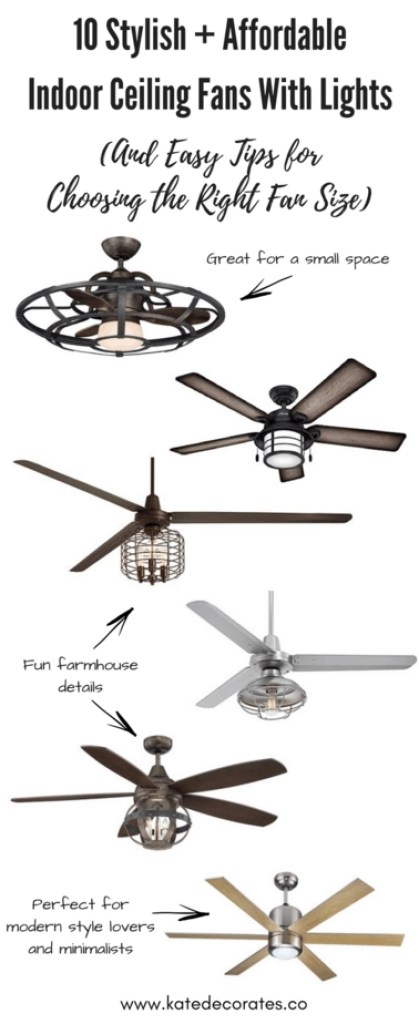 Great ceiling fan options for any room of the house, AND they're all under $500. Perfect! Love the helpful tips to keep in mind when shopping for a fan, too.
