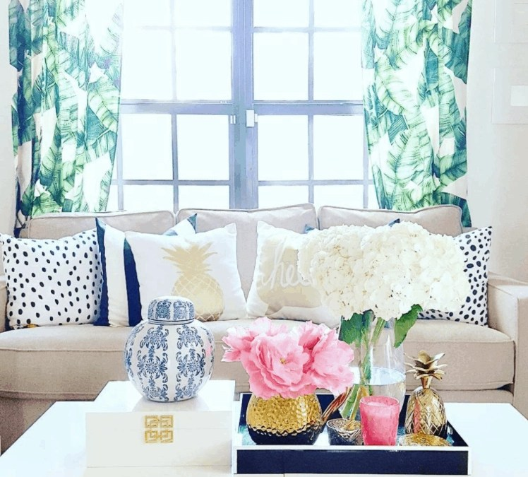 The Tropical Decor Style Trend: Palm Leaves, Pineapples, Flamingos + Rattan