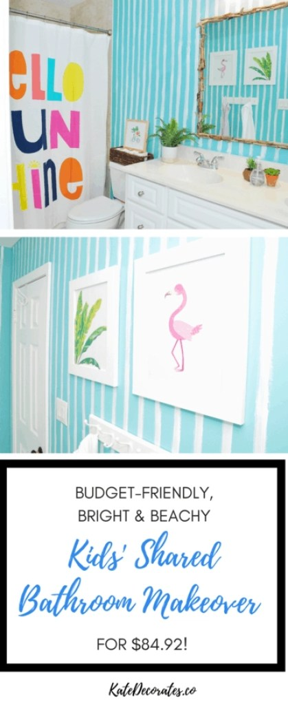 WOW! What a fun kids' shared bathroom makeover that cost less than $100! Lots of great ideas here.
