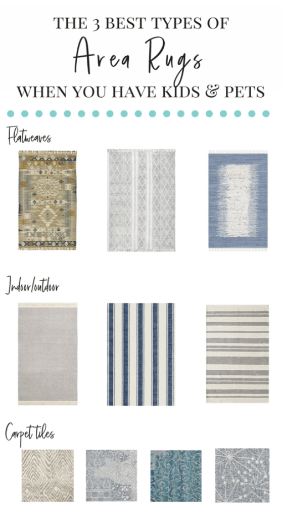 This is SUCH a helpful post that highlights the best area rugs for homes with kids and pets!