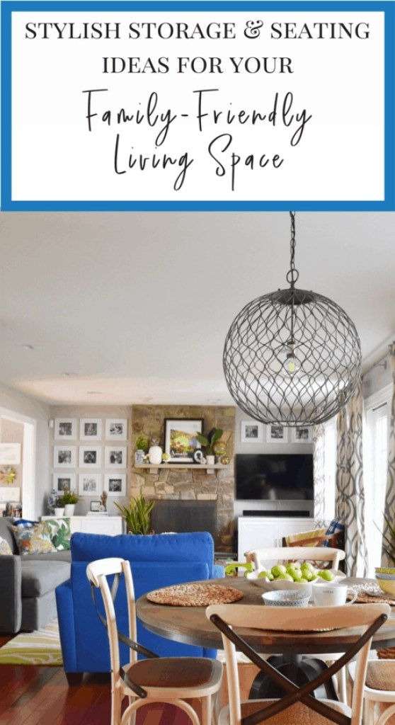 Love these affordable storage and seating ideas for a family-friendly living space!