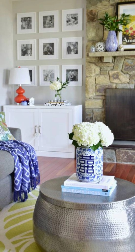 colorful living room spring decorating 1