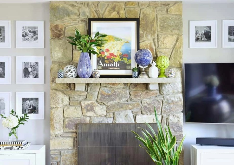 colorful living room spring mantel