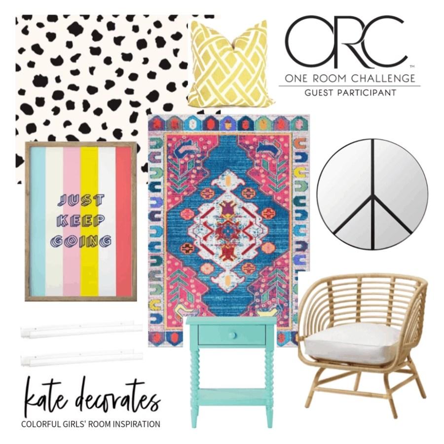 colorful girls bedroom design