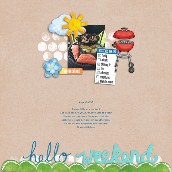 Weekend at Home digital scrapbooking page | scrapbook layout ideas | Kate Hadfield Designs creative team layout by Cristina
