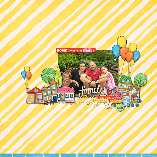 Weekend at Home digital scrapbooking page | scrapbook layout ideas | Kate Hadfield Designs creative team layout by Cvetana