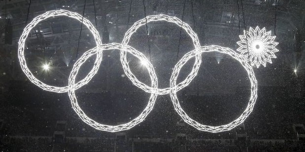 did you know russian TV edited this faux pas out, and they saw an earlier dress rehearsal?  http://www.washingtontimes.com/news/2014/feb/7/olympic-ring-malfunction-mars-sochi-opening-ceremo/