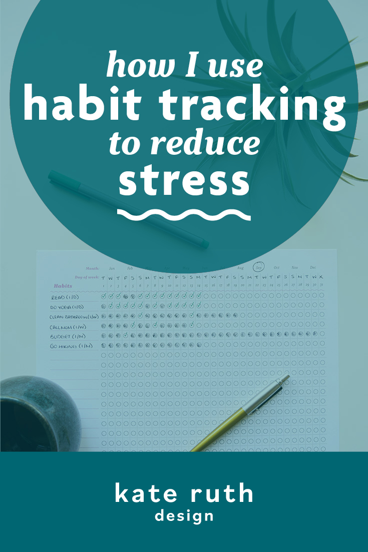 "Photo of habit tracker printable on a desk with the text ""How I use habit tracking to reduce stress"""