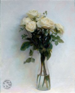 White Roses, 16 x 20 inches, oil on panel