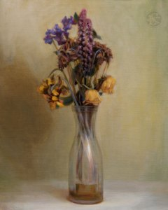 Dead Bouquet, 16 x 20 inches, oil on panel