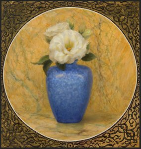 Blue Vase, 11 x 10.5 inches, oil on panel with 22k gold leaf
