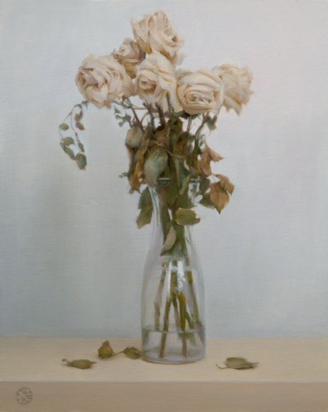 Dead Roses, 16 x 20 inches, oil on panel