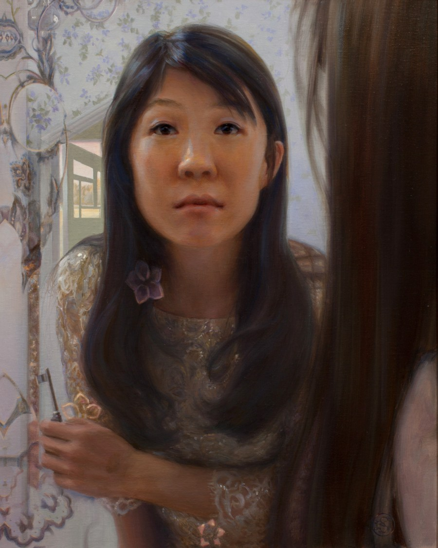 Self Portrait in Mirror, 20 x 16, oil on panel