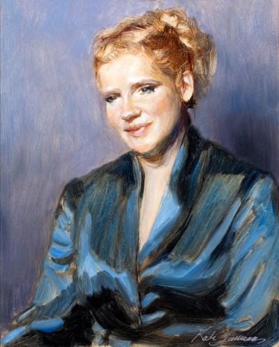 Portrait of Julie, 8 x 10 inches, oil on panel by Kate Sammons