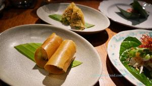 Crab wafers with coconut, galangal and coriander ขนมเบื้องปู
