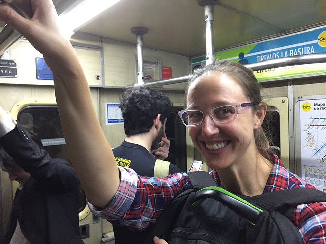 Riding the suite, or subway, Buenos Aires, Argentina.
