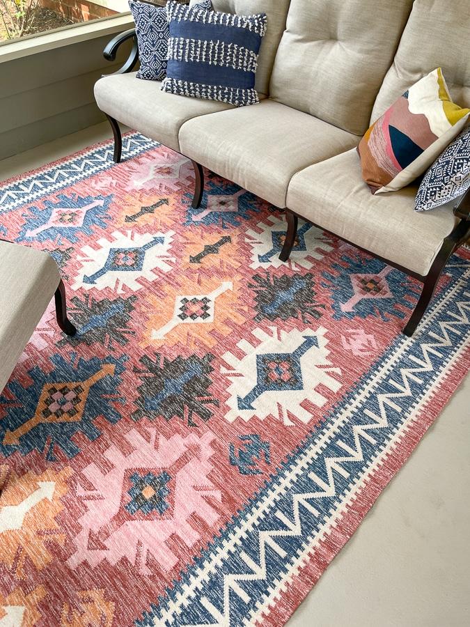 west elm coral outdoor rug