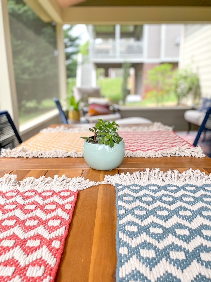 succulent on outdoor dining table