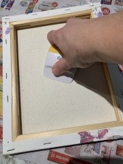 simple canvas painting with vinyl for kids
