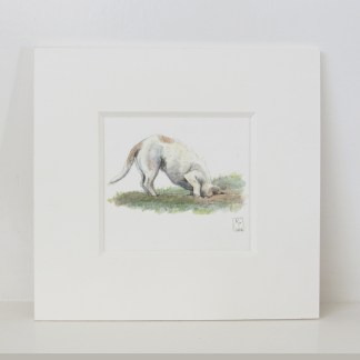 digging terrier painting