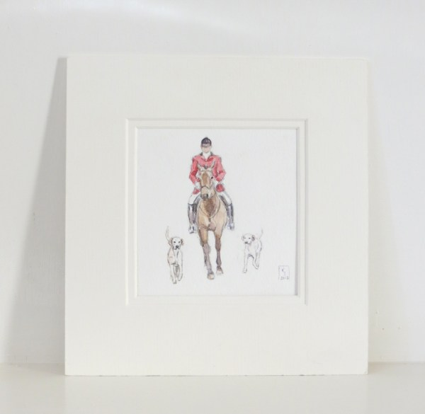 fox hunting watercolour painting